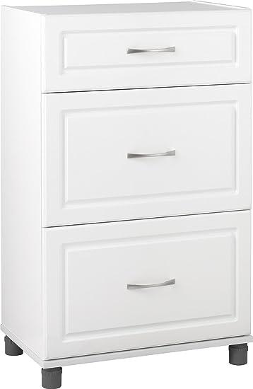 Amazon Com Systembuild Kendall 3 Drawer Base Cabinet 24 White Furniture Decor