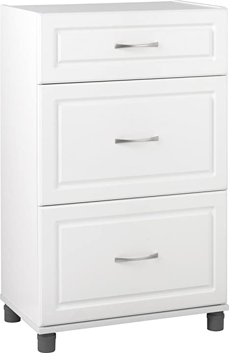 SystemBuild Kendall 24u0026quot; 3 Drawer Base Cabinet, White Stipple