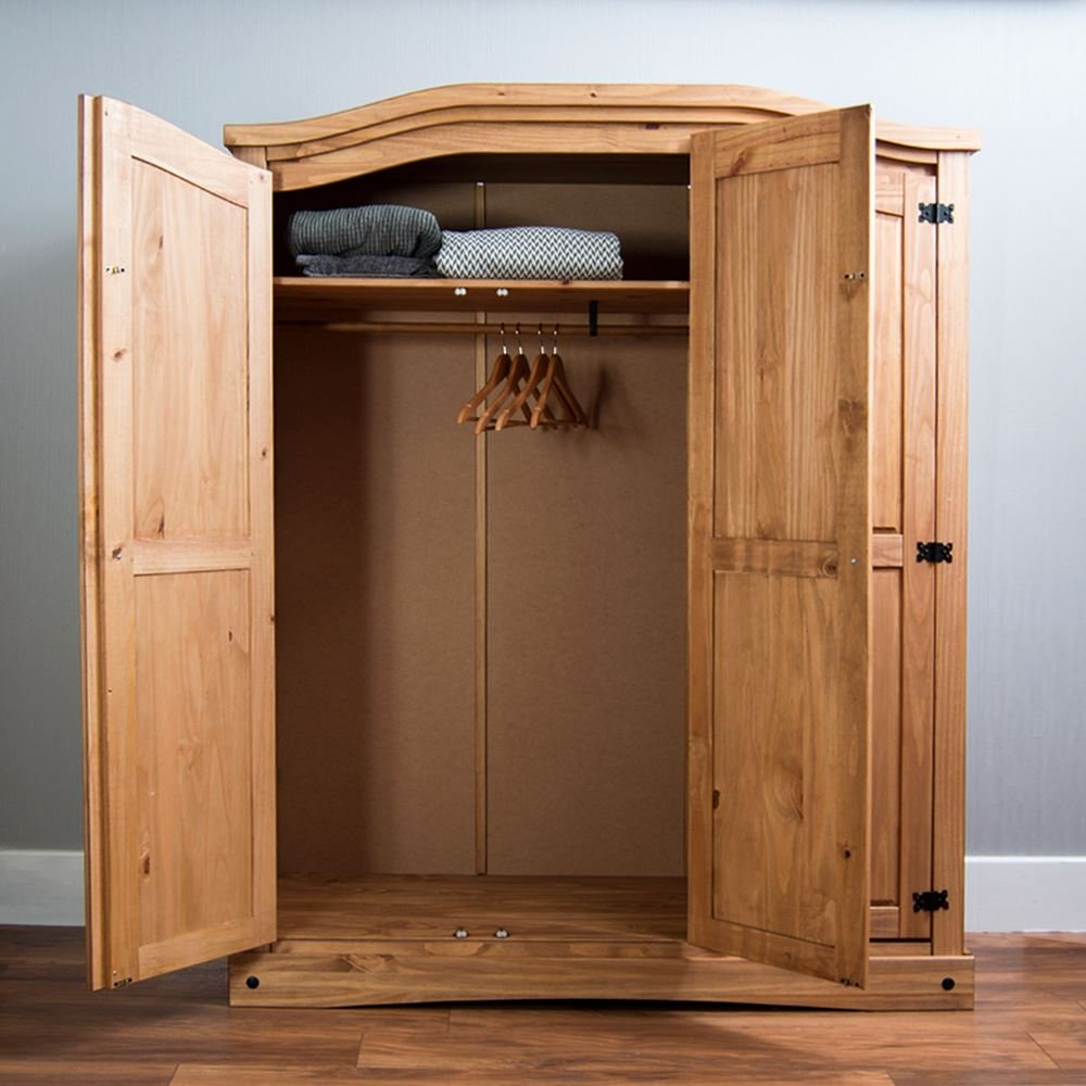 3 Door Solid Pine Wood Vida Designs Corona Wardrobe