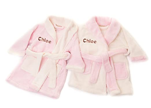 528aa58b5 Hoolaroo Personalised Baby Dressing Gown Bath Robe Supersoft Pink 18-24  months: Amazon.co.uk: Clothing