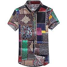 Mancave Men Linen Cotton Eclectic Colorful Prints Turndown Collar Summer Shirt