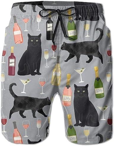 tyui7 Pantalones Cortos para el Tablero de Playa de Secado rápido para Hombres de Vino de Gato Negro Troncos de natación: Amazon.es: Ropa y accesorios