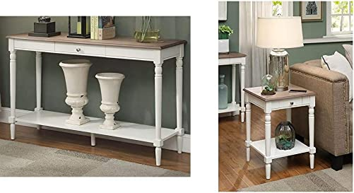 Convenience Concepts French Country Console Table with Drawer and Shelf, Driftwood White French Country End Table with Drawer and Shelf, Driftwood White