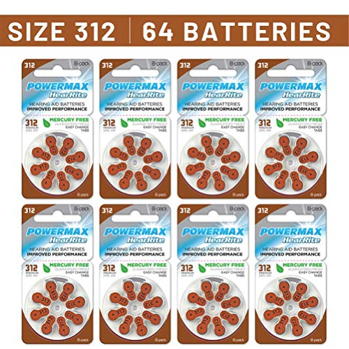 Powermax Size 312 Hearing Aid Batteries, Brown Tab, Long Lasting, Made In the USA, 64 Count