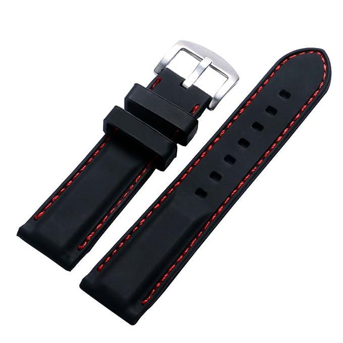 2 opinioni per YISUYA- Cinturino per orologio in silicone e acciaio inox, 22 mm, con fibbia