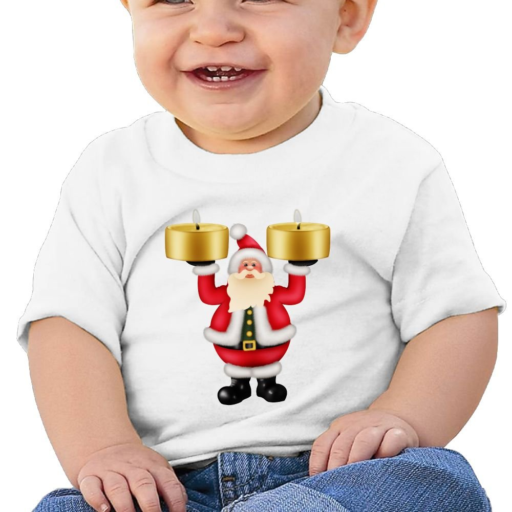 FFWWLHR Santa Claus and Candles Baby Clothing Tops Unisex Graphic Merry Christmas Cotton Baby Toddler Short Sleeve Tees