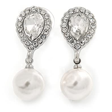 Bridal/Prom/Wedding Clear Crystal Faux Pearl Drop Clip On Earrings In Gold Tone - 50mm L ElJCUbC5