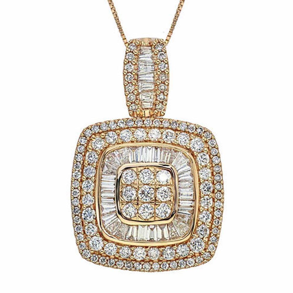 Smjewels 2 CT TW Baguette & Round Sim.Diamond 14K Yellow Gold Plated Cluster Pendant Necklace SNSP1343