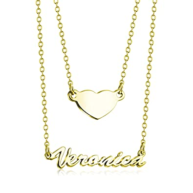 dbeb5b9023f8b LONAGO Personalized Name Necklace 925 Sterling Silver Customize Heart Charm  Multi Layer Nameplate Necklace 18K Rose Gold Plate Mother Friendship  Bridesmaid ...