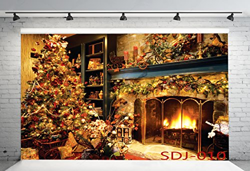 7x5ft Christmas Tree Fireplace Theme Pictorial Cloth Poly Fabric Photography Backdrop Customized Photo Background Studio Prop SDJ-010 ()