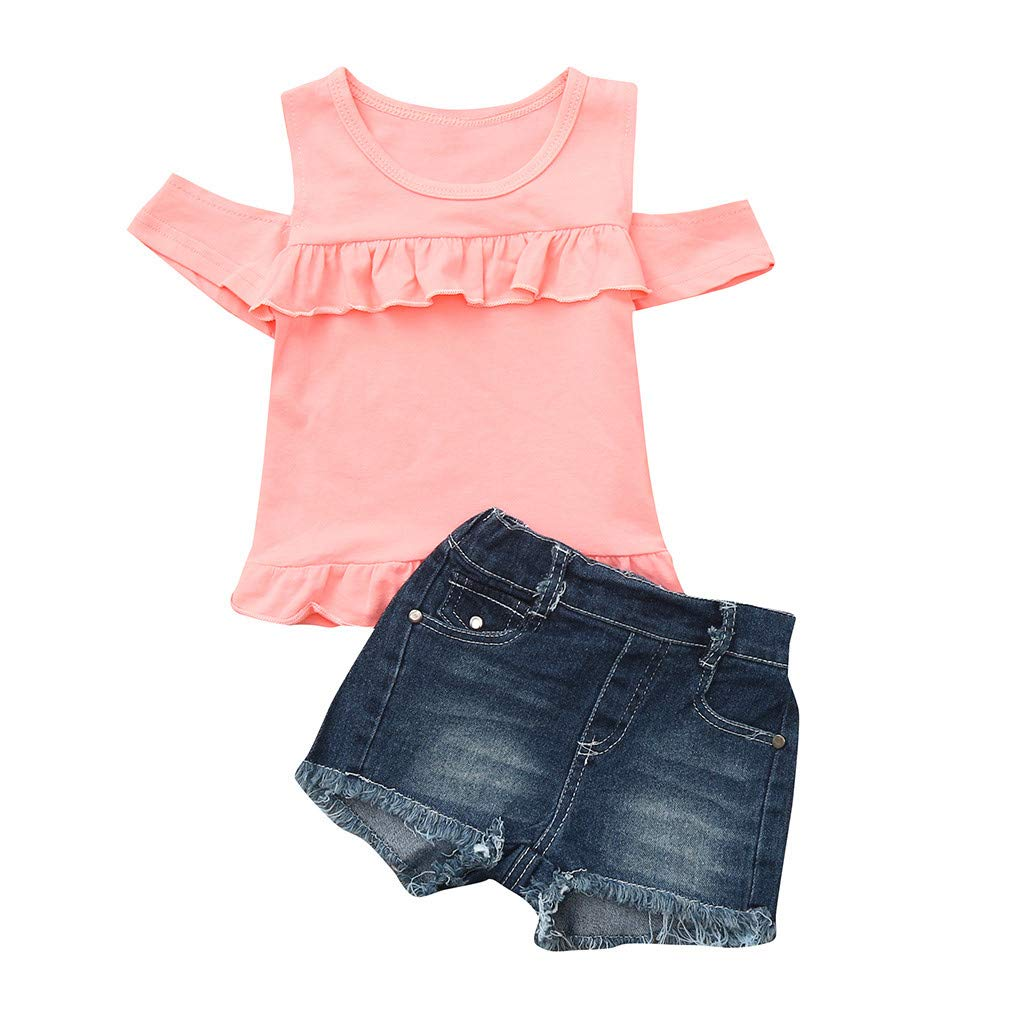 NUWFOR Toddler Baby Girl Off Shoulder Ruffle Solid Tops+Hole Denim Jean Shorts Outfits (Pink,18-24 Months)