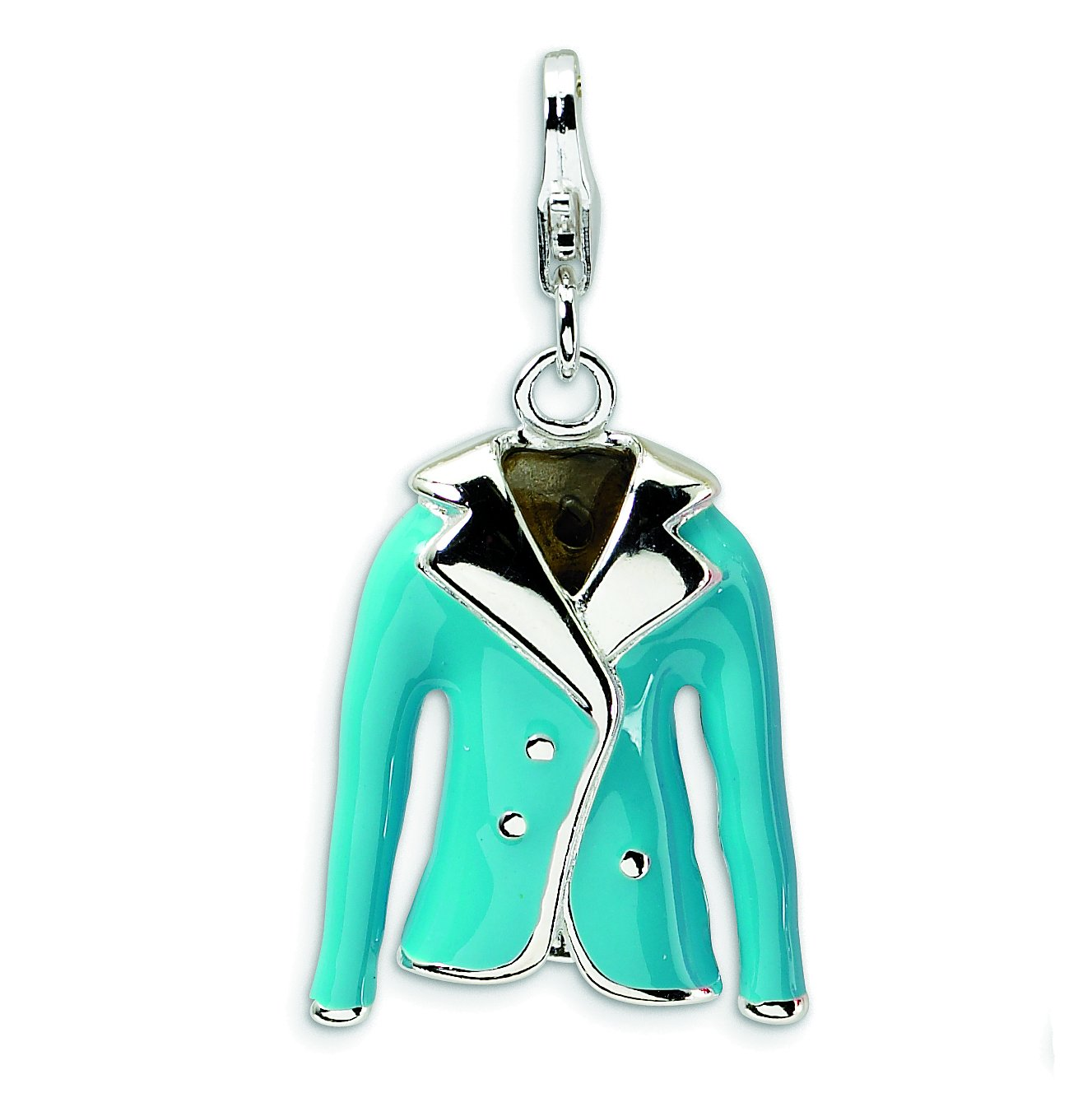 Amore La Vita Sterling Silver 3-D Enameled Blue Jacket with Lobster Clasp Charm