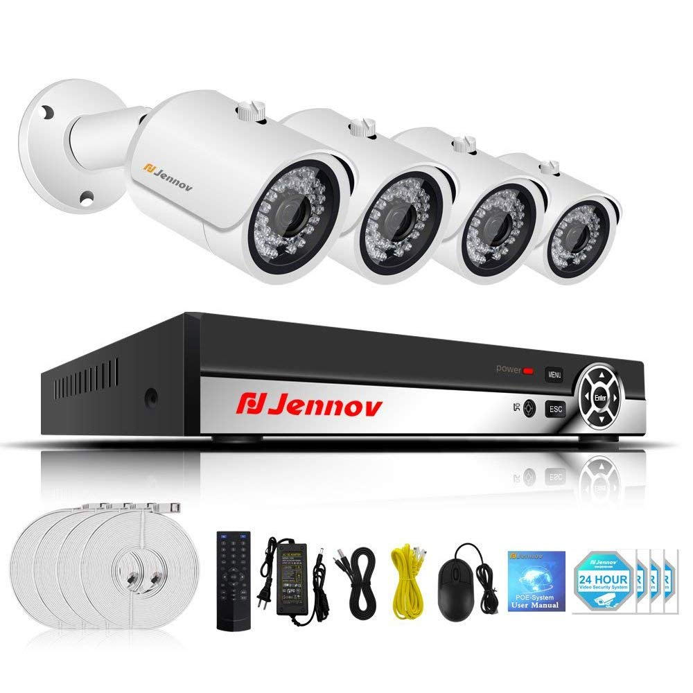 POE Security Camera System, Jennov 4 Channel 1080P PoE Security System CCTV Home Surveillance Outdoor IP Cameras Night Vision Power Over Ethernet, Motion Detection No Hard Drive