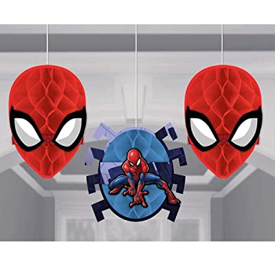 amscan Spider-Man Webbed Wonder Honeycomb Decorations, Party Favor: Toys & Games