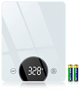 SUNDUO Digital Food Scale, 22lb Kitchen Scale with 1g 0.05oz Precise Graduation, LED Display and Tempered Glass, Portable Kitchen Scale for Baking, Cooking, Batteries Included