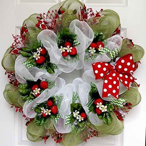 Strawberry Fields Forever Deco Mesh Handmade Spring or Summer Wreath
