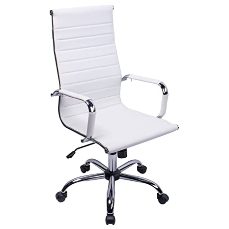 Enjoyable Poptoy High Curved Back Pu Leather White Home Office Chair Executive Computer Height Adjustable Swivel Desk Chair White Pu Leather Ibusinesslaw Wood Chair Design Ideas Ibusinesslaworg