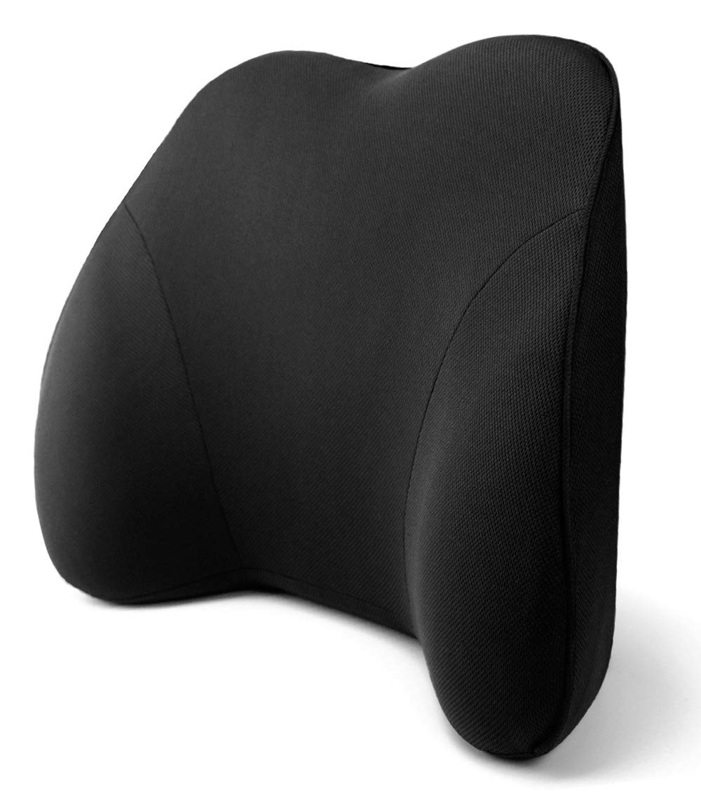 Tektrum Back Support Orthopedic Lumbar Pillow for Car Seat, Home/Office Chair, Sofa, Travel, Backrest - Ergonomic 3D Design Fit Body Curve, Washable Cover - Lower Back Pain Relief - Black (TD-QFC002)