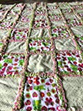 Sweetness overload! Pink and green flowers and frogs baby rag quilt