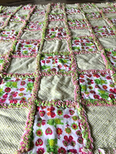 Sweetness overload! Pink and green flowers and frogs baby rag quilt by Laughing Heart Designs