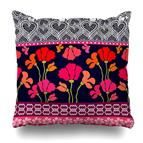 Ahawoso Throw Pillow Cover Bohemian Border Retro Poppies Pattern Inspired Blue by Gypsy Costumes Lace Floral Design Batik Zippered Pillowcase Square Size 16 x 16 Inches Home Decor Pillow Case