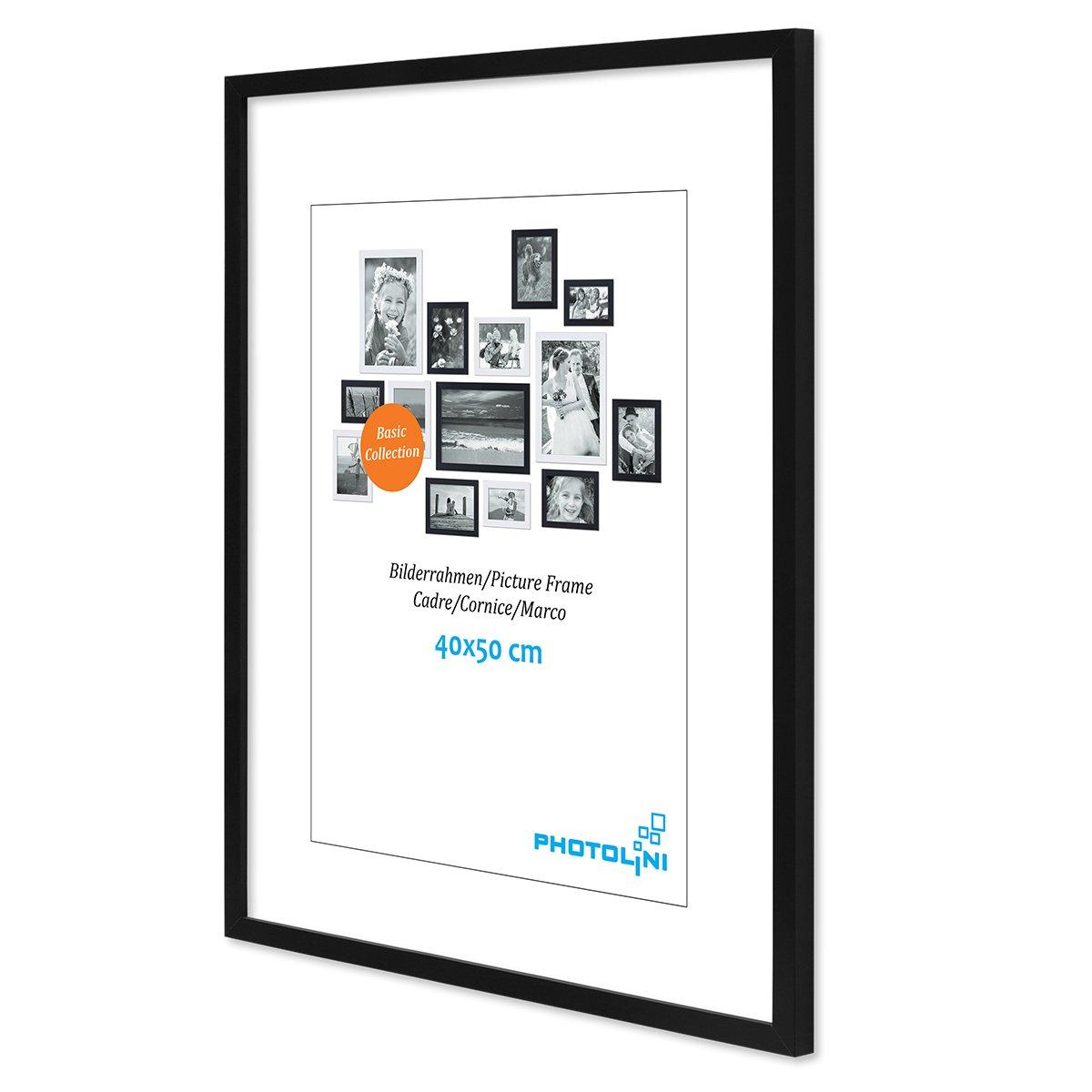 PHOTOLINI Poster-Bilderrahmen 40x50 cm Modern Schwarz aus MDF mit ...