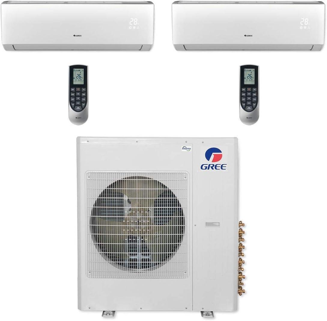 Gree MULTI36CVIR200-36,000 BTU Multi21+ Dual-Zone Wall Mount Mini Split Air Conditioner Heat Pump 208-230V (9-9)