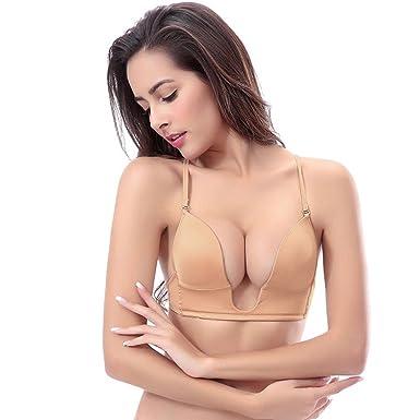 e3bb179d1 YANDW Push Up Deep Plunge U Bra Plus Taille pour Les Femmes avec des  Sangles Transparentes