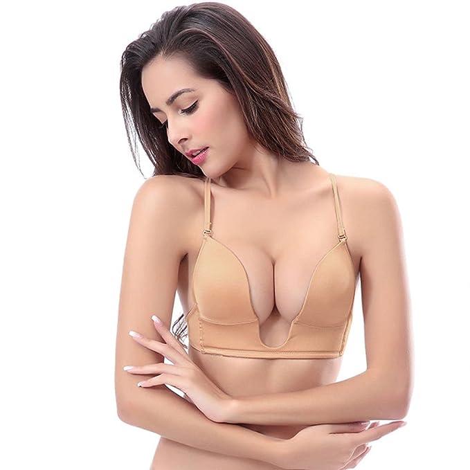 YANDW Sujetadores Plunge Push Up sin Tirantes Invisible Mujer Forma U para Vestido Escote Convertible V Negro Busto Bajo Bra: Amazon.es: Ropa y accesorios
