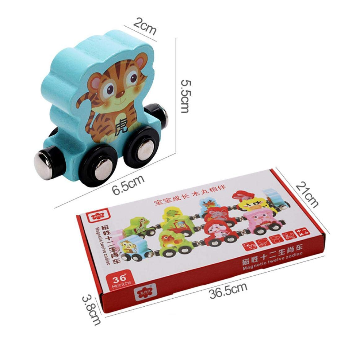 Gbell Kids Toddler Colorful Mini Wooden Train Set - 13Pcs Animal Learning Educational Toy Gifts Toddlers Girls Boys Kids Over 3 Year Old (Multicolor) by Gbell (Image #6)