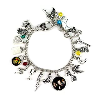 Comtervi Bracciale a Tema Harry Potter Ispirato a Rowling Hogwarts Glass Star Flash Owl Moon