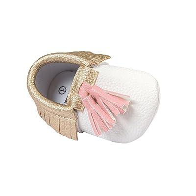 ????LuckyGirls Chic Nouveau-Né Bébé Gland Sneaker Anti-Dérapant Doux Semelles Tout-Petits Bébé Chaussures Chaussure de Premier Pas- PU Cuir - 0~18 Mois