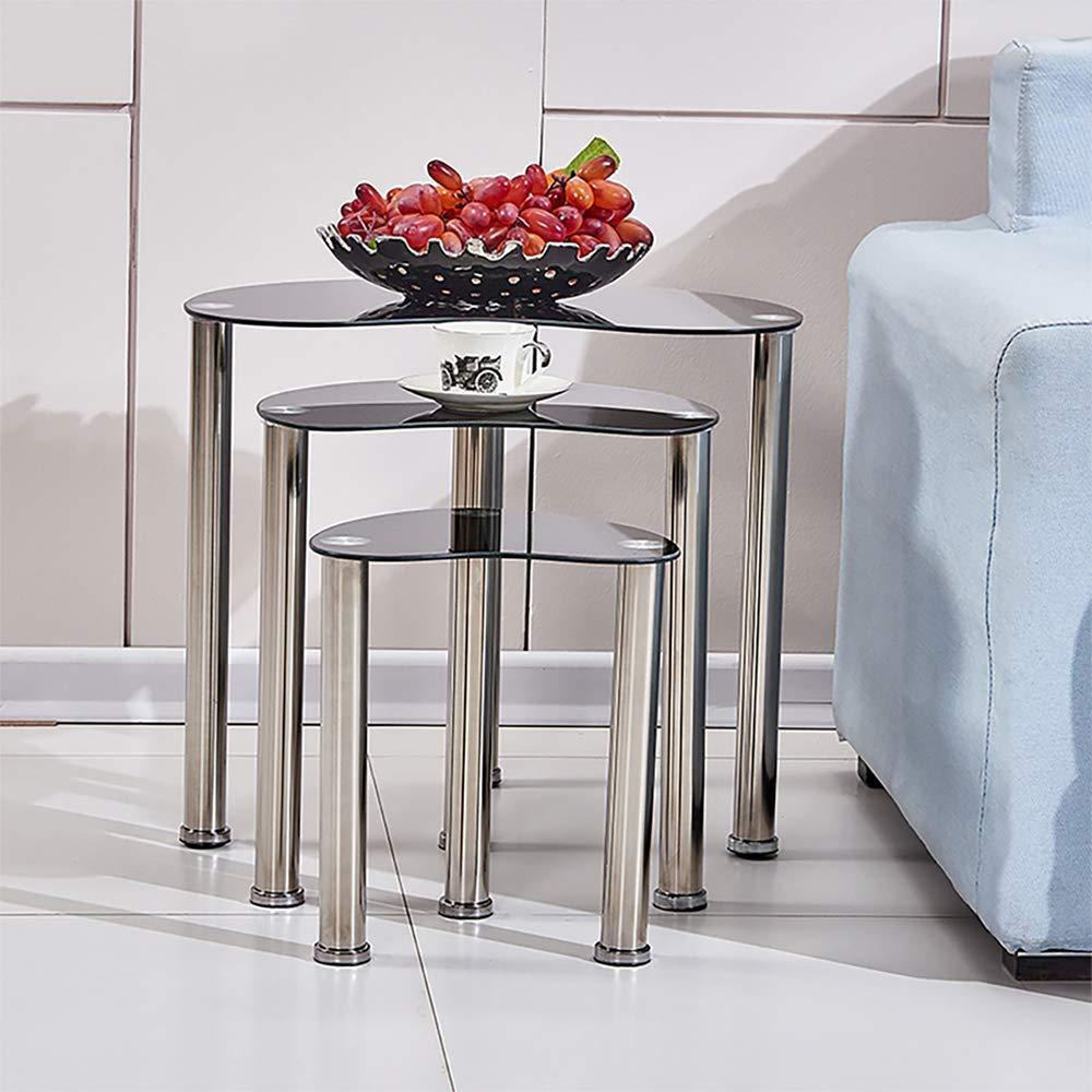 BOJU Moderno Vetro Set da tavola Set di 3/Divano Laterale caff/è tavolino per Soggiorno da Letto Piccoli Snack da Tavolo cromata Gamba Tavolo impilate Nero
