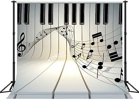 10 x 10 pies Fondo de Música Negro Blanco Piano Teclado Beat ...