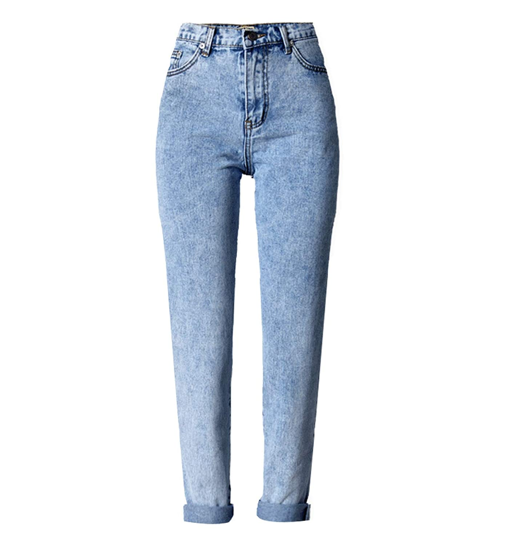 bluee Women Long Jeans High Waist Vintage Loose Straight Denim Trousers