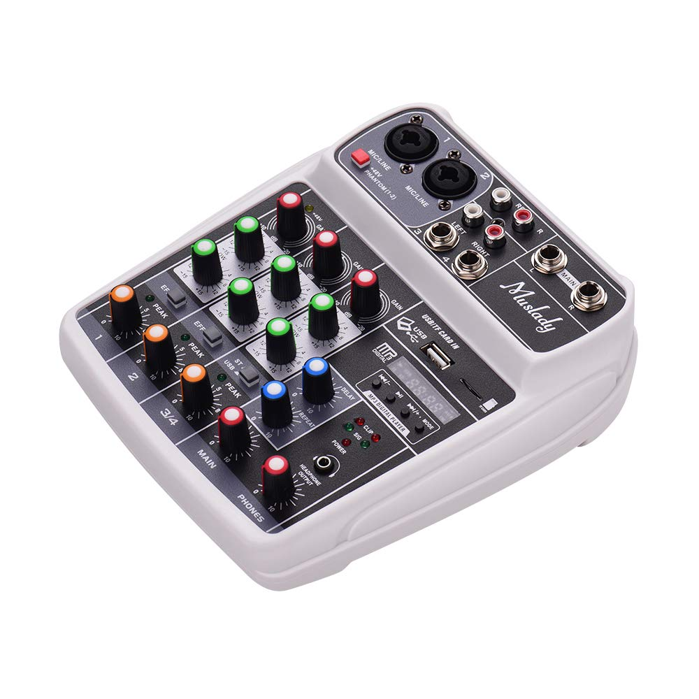 48V Potencia Fantasma para Grabaci/ón de M/úsica Red de DJ Transmisi/ón en Vivo Karaoke Muslady Consola de Mezcla Tarjeta de Sonido Compacta Mezclador de Audio Digital Entrada de 4 Canales BT MP3 USB