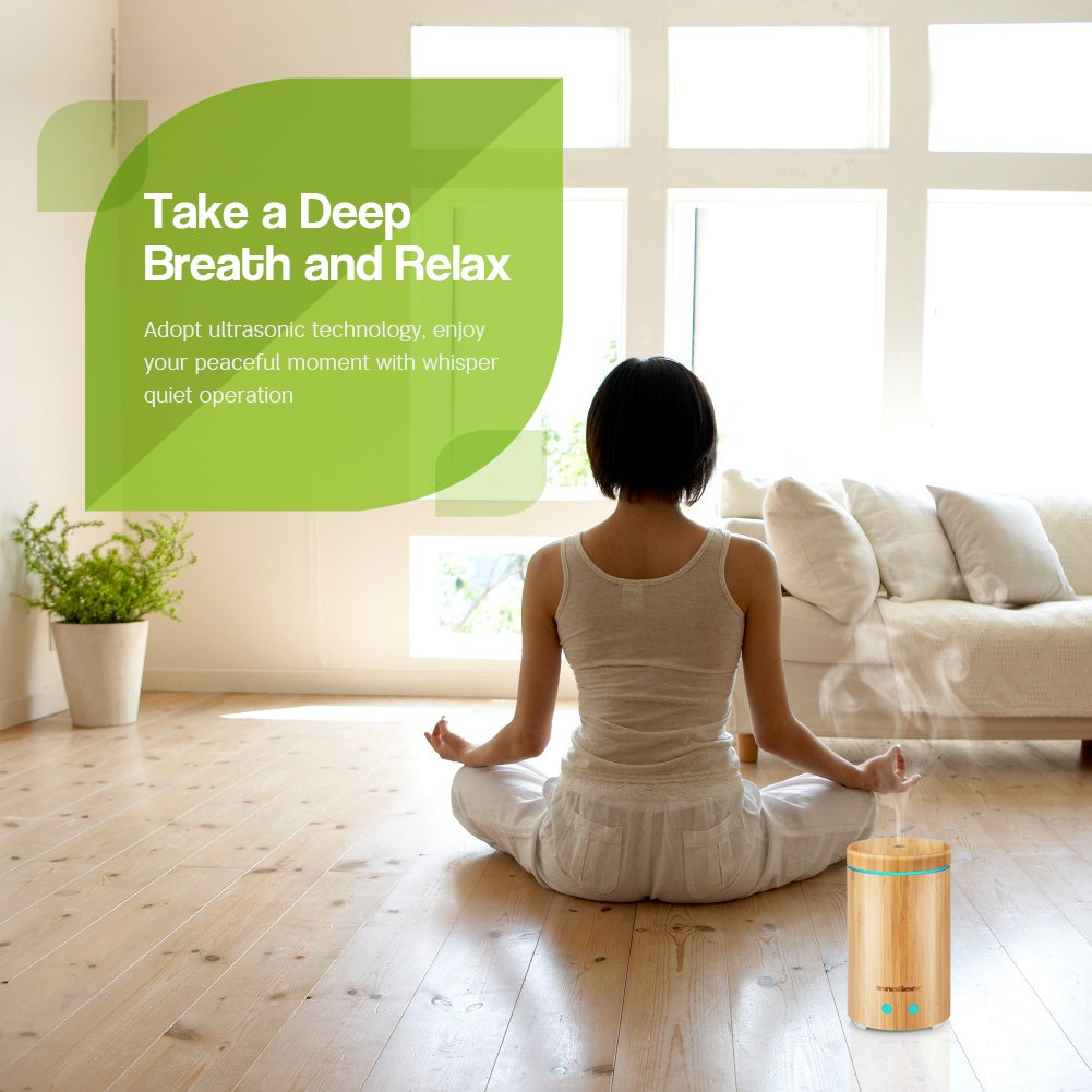 InnoGear Upgraded Real Bamboo Essential Oil Diffuser Ultrasonic Aroma Aromatherapy Diffusers Cool Mist Humidifier with Intermittent Continuous Mist 2 Working Modes Waterless Auto Off 7 Color LED Light by InnoGear (Image #7)