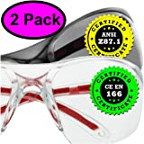 Safety Glasses Eye Protection - Comfort Eyewear - 1 Clear Pair, 1 Tinted Pair - SuperLite and SuperClear Lens Technology, Z87.1 - CE 166 Certified