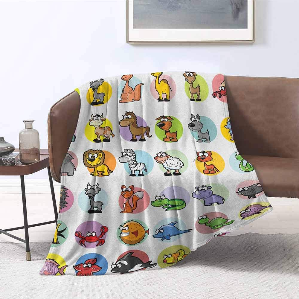 zojihouse Zoo Living Room/Bedroom Warm Blanket Funny Cute Cartoon Style Animals Set Colorful Dots Doodle Jungle Life Kids Room Design W55.5xL71 Multicolor