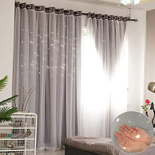 ABREEZE Elegance Mix Match Tulle Sheer Lace Attached Hollow-Out Stars Blackout Curtain Romantic Room Darkening Draperies 1 Panel, 59 x 96 inch,Grey