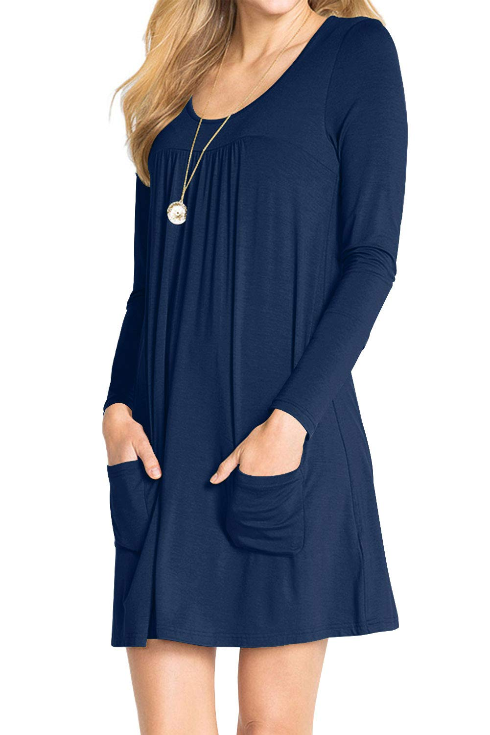 AMCLOS Womens Dress Plus Size Swing Simple Ruffle with Pockets Loose Casual Plain Round Neck Dresses Long Sleeve (Medium, Royal Blue)