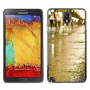 Be Good Phone Accessory // Dura Cáscara cubierta Protectora Caso Carcasa Funda de Protección para Samsung Note 3 N9000 N9002 N9005 // Street Rain Wet City Lights View