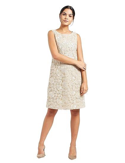 18c202a5d42 Zink London Beige Self Design A-Line Dress for Women (X-Small ...