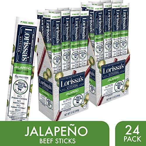 Lorissa's Kitchen Grass Fed Beef Sticks, Jalapeño, 1 oz., Pack of 24 - Made with 100% Grass-Fed Beef, Keto Friendly Snacks, Gluten Free, No Added Nitrites or Nitrates - (Packaging May Vary)