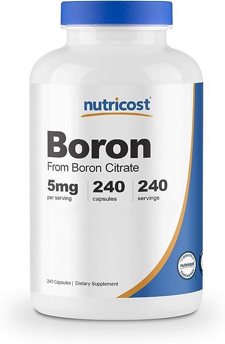 Nutricost Boron Capsules 5mg, 240 Vegetarian Capsules - Gluten Free, Non-GMO