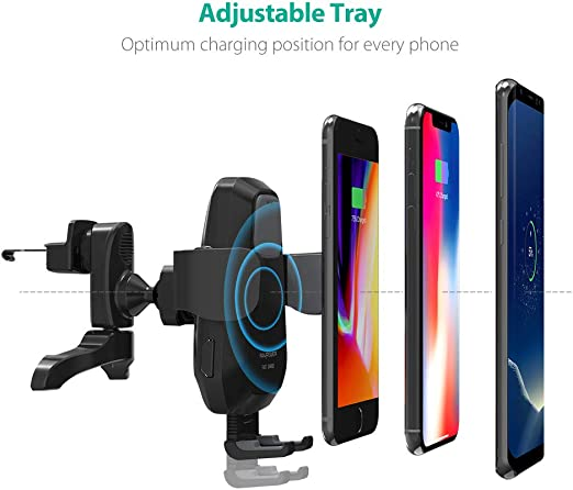 Black WDX Fast Wireless Charger Qi-Certified Wireless Charging Pad 3 Charging Mode 5W//7//5W//10W for Smart Phone No AC Adapter