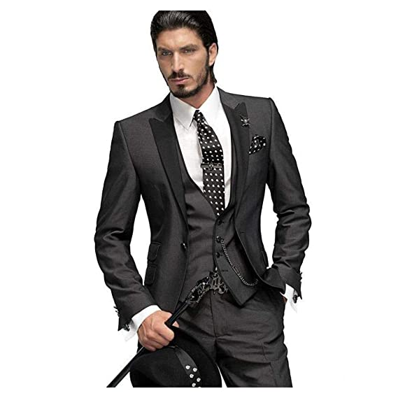 FidgetGear Black Slim Fit 3 Piece Groom Tuxedo Notch Lapel ...