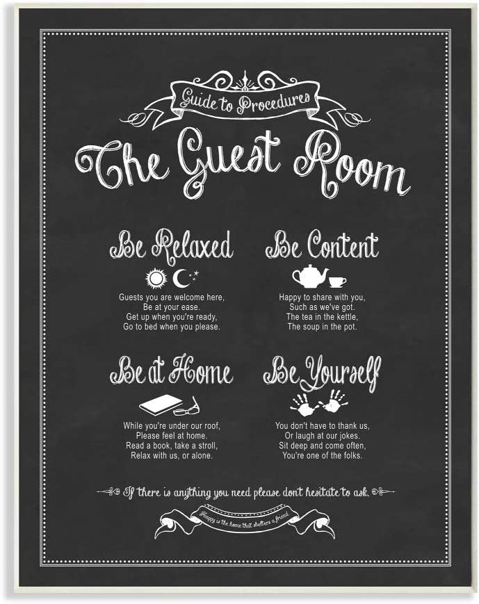Stupell Industries The Guest Room Guide Wall Plaque, 10 x 15, Design By Artist Lettered and Lined