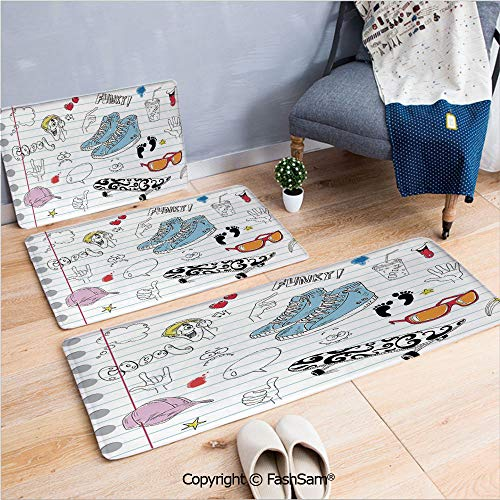 FashSam 3 Piece Non Slip Flannel Door Mat Notebook Design with a Variety Drawings Funky Skateboard Shooting Star Decorative Indoor Carpet for Bath Kitchen(W15.7xL23.6 by W19.6xL31.5 by W19.6xL59) ()