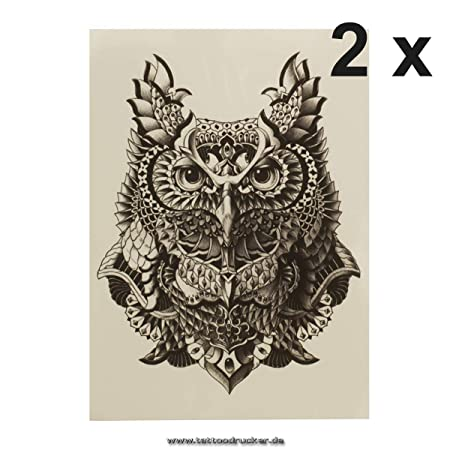 KM017 - Tatuaje Falso Temporal, diseño de búho, Color Negro, Negro ...